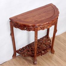 实木桌ki花梨木雕花ra木半圆桌玄关柜台桌半月台供桌案几供桌