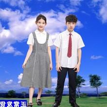 深圳校服初中学ki男女统一夏ka制服白色短袖衬衫西裤领带套装