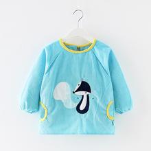 秋冬宝ki吃饭罩衣男ne脏围兜女孩长袖反穿衣婴儿护衣