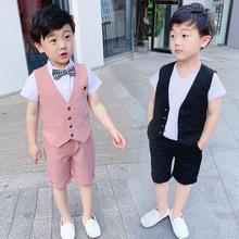 宝宝短ki西装套装男wo式马甲三件套花童礼服主持的走秀表演服