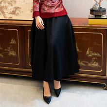 如意风ki冬毛呢半身mo子中国汉服加厚女士黑色中式民族风女装