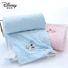 迪士尼ki儿安抚豆豆mo薄式纱布毛毯宝宝(小)被子空调被宝宝盖毯