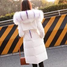 大毛领ki式中长式棉mo20秋冬装新式女装韩款修身加厚学生外套潮