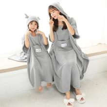 宝宝浴ki斗篷家用宝mo女可穿可裹带帽可爱比纯棉吸水速干浴袍