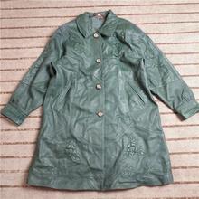 09点ki二手皮衣 mo皮时尚中长式透花羊皮皮大衣外套 Q742
