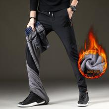 加绒加ki休闲裤男青de修身弹力长裤直筒百搭保暖男生运动裤子