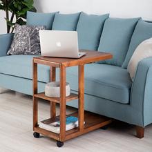 实木边ki北欧角几可de轮泡茶桌沙发(小)茶几现代简约床边几边桌