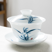 手绘三ki盖碗茶杯景ed瓷单个青花瓷功夫泡喝敬沏陶瓷茶具中式