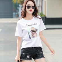 202ki年新式夏季ed袖t恤女半袖洋气时尚上衣纯棉体��衫气质�B