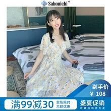 碎花莎ki质收腰雪纺sa(小)个子赫本风可盐可甜法式桔梗裙