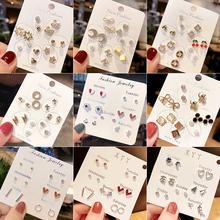 一周耳ki纯银简约女an环2020年新式潮韩国气质耳饰套装设计感