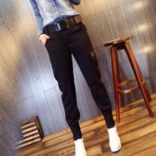工装裤ki2021春an哈伦裤(小)脚裤女士宽松显瘦微垮裤休闲裤子潮