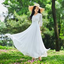 连衣裙ki女风202ei夏气质拖地裙子大摆裙沙滩裙白色雪纺
