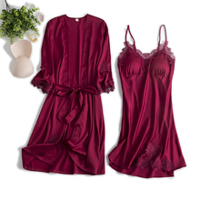 向娜睡ki女秋冬薄式un吊带睡裙睡袍两件套带胸垫新娘晨袍红色