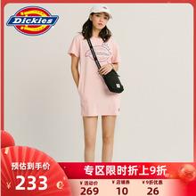 DickiiesLOun花短袖连衣裙 女式夏季新品休闲棉T恤裙子DK007392