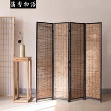 新中式ki0苇屏风隔un关客厅茶室办公室折叠移动做旧复古实木