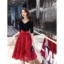 宴会晚ki服裙女20si式气质年会平时可穿连衣裙(小)个子红色大码冬