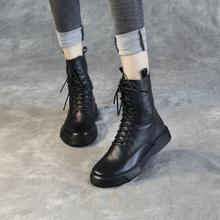 清轩2ki20新式真si靴女中筒靴平底欧美机车女靴短靴单靴潮皮靴