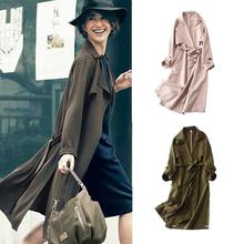 日系女ki春秋雪纺薄so系带中长式防风过膝显瘦长袖外套风衣
