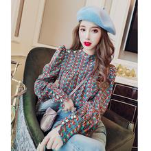 雪纺衫kj衣春装20qr新式女韩款洋气复古百搭显瘦长袖印花打底衫