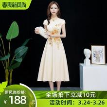 旗袍改kk款2021pk中长式中式宴会晚礼服日常可穿中国风伴娘服
