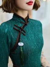 女长式kl质2021ck古民国斜襟盘扣显瘦日常端庄墨绿中长袖
