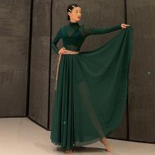 WYZkm盖定制盖自bo舞裙纱裙长半裙时尚气质舞蹈服网纱打底衫