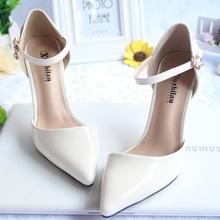 春夏季km头(小)码高跟kj3233一字扣包头凉鞋白色细跟浅口裸色女鞋