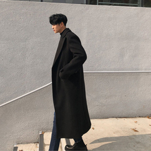 秋冬男km潮流呢韩款gw膝毛呢外套时尚英伦风青年呢子