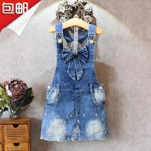 女童牛kn背带裙20fp季新式韩款宝宝吊带短裙中大童牛仔裙连衣裙