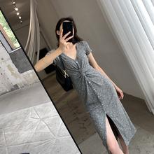 灰色冰丝针织ko衣裙202aa夏开叉气质女神范修身显瘦V领中长裙