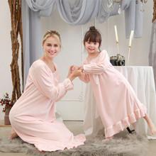 秋冬季ko童母女亲子ok双面绒玉兔绒长式韩款公主中大童睡裙衣