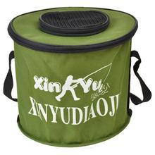 钓鱼桶ko叠水桶带盖pp水帆布鱼桶钓鱼用具装鱼箱手提桶