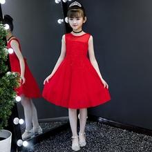 女童雪ko连衣裙夏装ch主裙洋气裙子童装礼服夏天红色沙滩裙