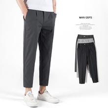 夏季2ko20新式韩ch直筒休闲西裤男九分裤简约(小)西装裤男潮