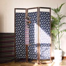 定制新ko式仿古折叠ch断移动折屏实木布艺日式民族风简约屏风