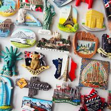 个性创ko欧洲3D立es各国家旅游行国外纪念品磁贴吸铁石