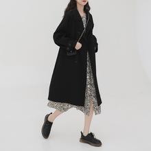 金大班ko云2019in新式气质双排扣黑色外套大衣女中长过膝