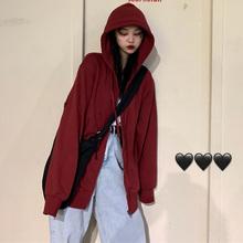 红色2ko20年新式in韩款酒红上衣宽松学生拉链连帽薄外套女
