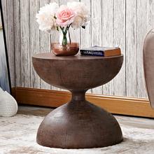 美式复ko沙发边几圆ta角几仿实木原木圆几迷你茶几桌子(小)户型
