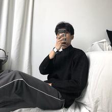 Huakoun inta领毛衣男宽松羊毛衫黑色打底纯色针织衫线衣