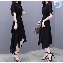 。20ko0夏季女装tl身中长裙短袖不规则气质名媛黑色雪纺连衣裙