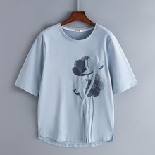 202ko新式纯棉中ri女短袖宽松半袖大码中年妈妈夏装洋气上衣服