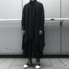 ForkoLACK山ri暗黑风不规则褶皱设计长式衬衫男女情侣宽松外套