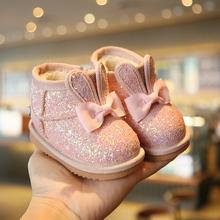 冬季女ko儿棉鞋加绒mi地靴软底学步鞋女宝宝棉鞋短靴0-1-3岁