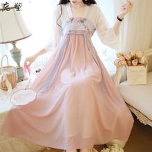 中国风ko夏季仙气女mi 改良款刺绣汉服古装日常可穿连衣裙子
