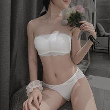 无肩带kp滑美背内衣10显胸(小)文胸裹胸薄式文胸一体抹胸夏季