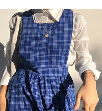 shakpashankui蓝色ins休闲无袖格子秋装女中长式复古连衣裙