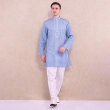 印度进kr传统民族风cp气服饰中长式薄式宽松长袖刺绣男士套装