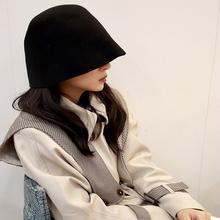 日本(小)kr设计羊毛呢cp桶帽时尚钟型盆帽女子秋冬乞丐帽